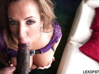 Richelle Ryan in purple net bikini heats up as she sucks a huge cock