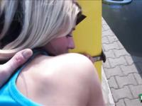 Beautiful sexy car wash girl Tracy spotted by a total stranger and gets banged in public