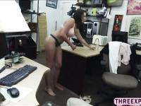 Sexy amateur wife gets saved in a pawn shop when her husband is annoying