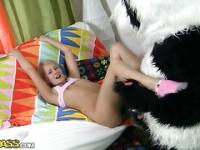 Naughty girl plays with big porn toys