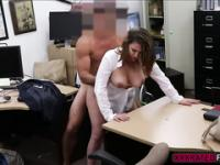 Busty milf kneels and deepthroats cock and gets fucked in exchange of cash