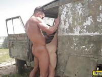 Captured gay gets abusive blow job and anal fucking