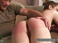 White guy getting his ass spank