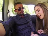Sexy Stella strips and gets fucked in the backseat of the taxi