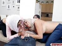 Two Arab ladies horny threesome session with nasty man