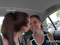 College girls finger fucking pussy on backseat