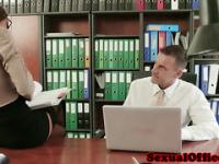 Office secretary in stockings fucked on desk