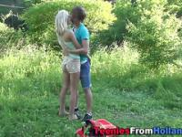 Teen slut jerkin outdoors