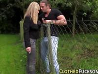 Clothed slut outdoor cum