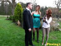 Wam peefetish eurosluts tasting cum at outdoor threeway
