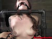 Nasty sub restrained and choked by dom