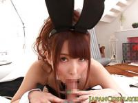 Japanese wam cosplay babe sucking dick pov