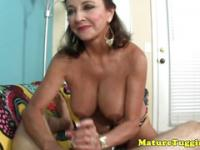 Bigtit cougar jerking off young dick