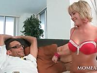Lovely blonde plays with bald pink pussy