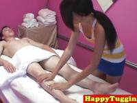 Smalltit asian masseuse sucking hard cock