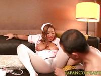 Bigtitted cosplay japanese nurse sucking dong