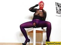 Huge titties cutie in nylon mask and full body nylon suit