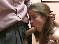 Blonde cutie joins dirty couple in 3some for cash