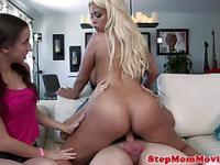 Glam busty stepmom and tiny teen share