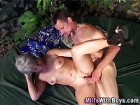 Outdoor granny fucked
