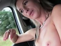 Alena gets hardcore car fucking action inside a strangers car