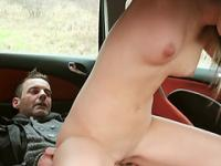 Busty babe Anina gets double action inside a car