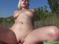 Blonde publicsex amateur fucks outdoors
