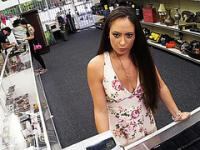 Hot dominatrix selling her old equipment pawns her ass in the shop