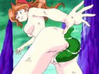 Redhead hentai gets worm inside her pussy