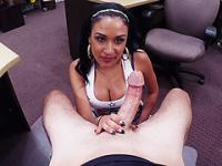 Slutty huge tits Latina encounters doggystyle fucking position in the pawnshop