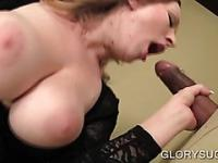 Big titted hoe fucks large cock on gloryhole
