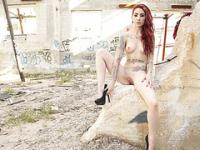 Tattooed italian slut gets her virgin plump bum fuck in a deserted lot