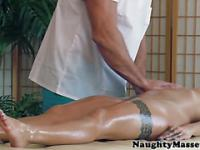 Massagesex babe helps herself to cock