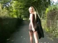 Flashing blonde babe Lenas highway masturbation and public nudity