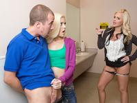 Hot MILF Alena Croft in threesome action with the young couple