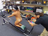 Hot muscle young lady gets naked and gets fucked in the shop