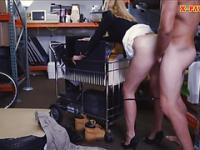 Sexy blonde milf pounded in the backroom