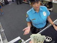 Hot and sexy latina security gets hardcore pounding in exchange of cash