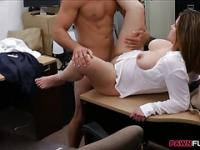 Busty business woman banged by pawn man