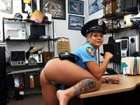 Sexy Police woman wants to pawn her weapon and ends up fucked by Shawn