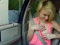 Blondie Sexy teen Dakota get laid hard inside a car she is riding