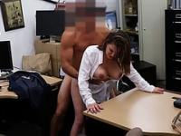 Sexy brunette lady selling her old stuff ends up in the office