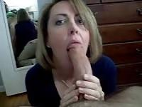 Hungry housewife gagging on it