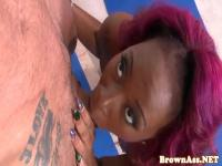 Redhead black beauty sucks before fucking