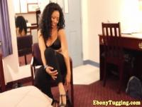 Tugging ebony amateur with a nice big booty