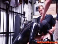 Pawnshop amateur must suck cock in trio for cash