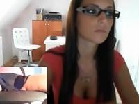Hot Office Girl shows puss