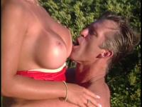 Hot blonde lays on lawn chair and gets her wet pussy licked and fucked