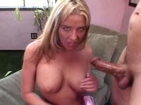 Horny blonde mischievously tugs massive wet sausage for warm juice on tits