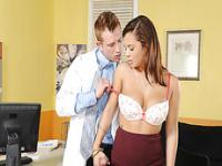 Hot and sexy doctor Keisha Grey strokes and deepthroats a huge cock